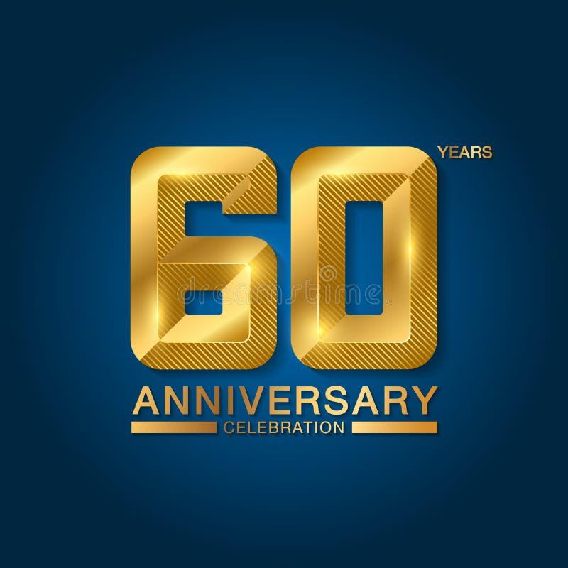 60 van de verjaardagsjaar viering logotype Gouden verjaardagsembleem met lint Ontwerp voor boekje, pamflet, tijdschrift, brochure royalty-vrije illustratie