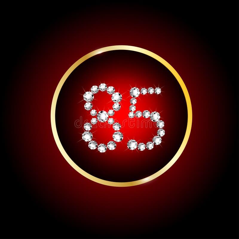 van de de verjaardagskaart van de de 85ste jaren het gelukkige verjaardag aantal van de uitnodigingsdiamanten rode zwarte vector illustratie