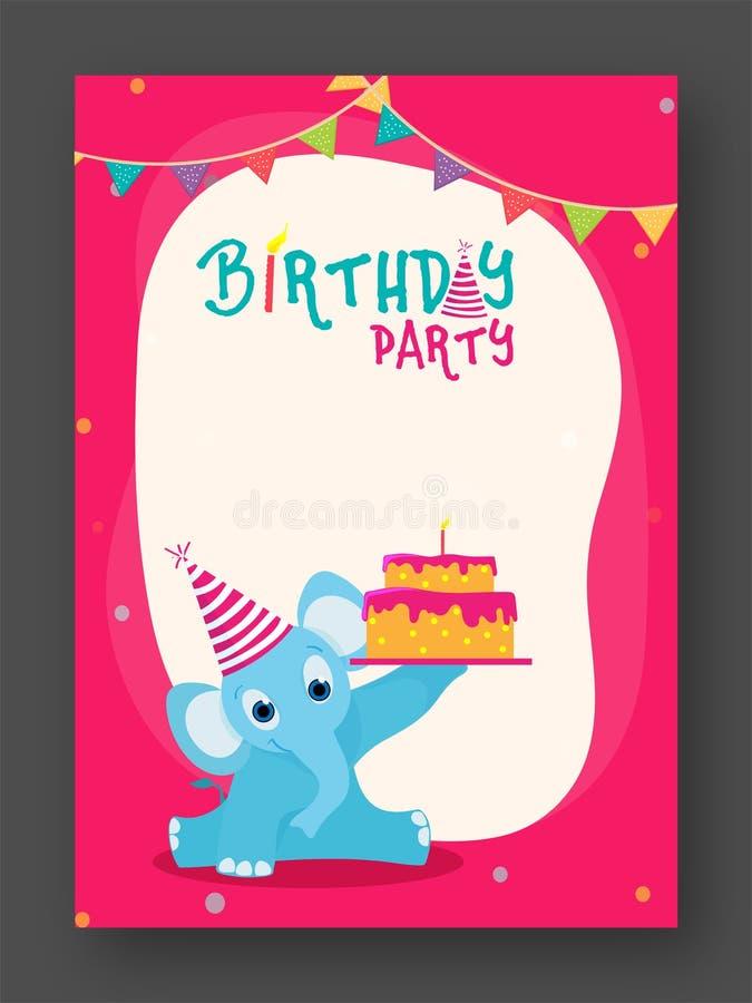 Van de verjaardagsuitnodiging of Groet Kaart stock illustratie