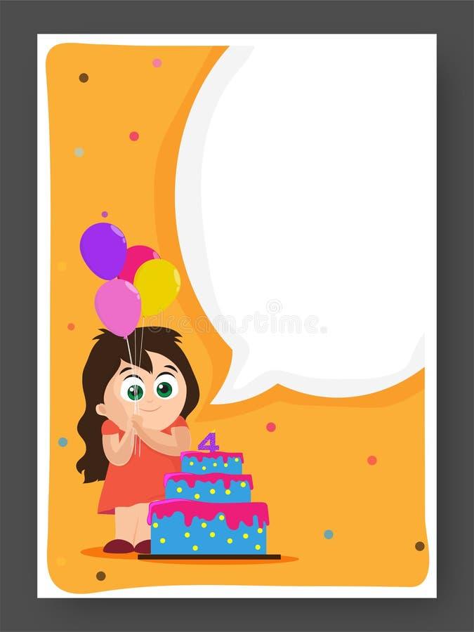Van de verjaardagsuitnodiging of Groet Kaart royalty-vrije illustratie