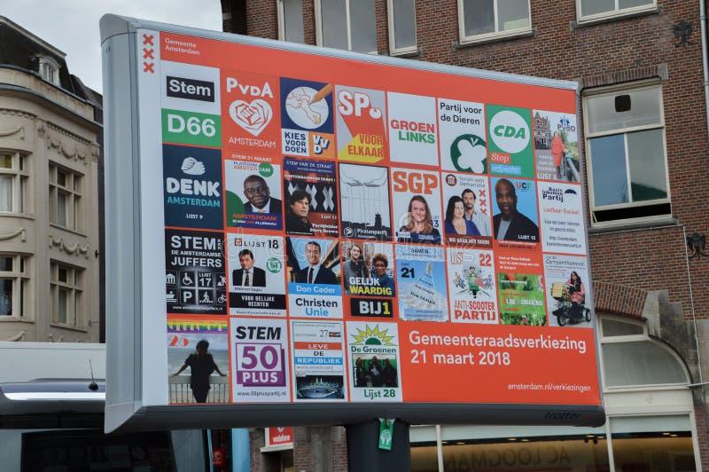 Van de Verkiezingenamsterdam van de reclamestad het Nederland 2018 royalty-vrije stock fotografie