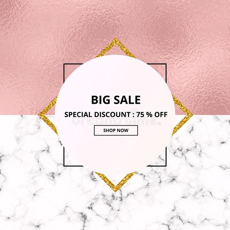 Van de de verkoop witte marmer of steen van het dekkingsaanplakbiljet textuur en roze folietextuur In geometrische affiche Malpla stock illustratie