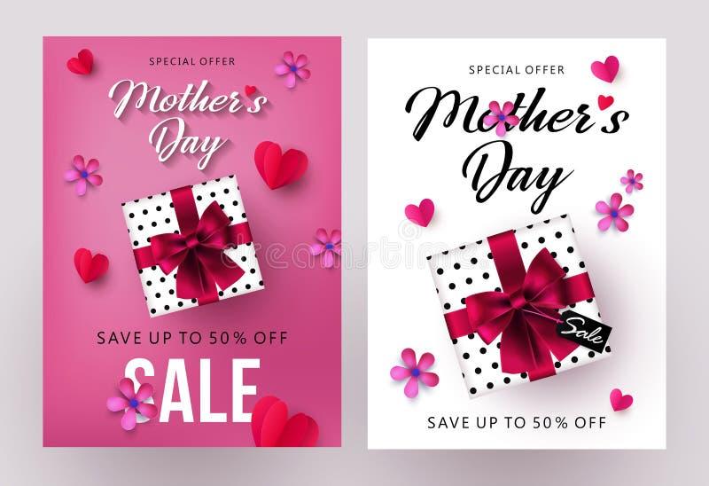 Van de verkoopbanners en vliegers van de moedersdag ontwerpset met mooi giftvakje, document harten en bloemen royalty-vrije illustratie