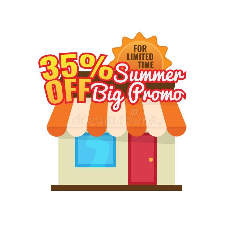 35%-van de de verkoopkorting van de aanbiedingszomer de vectorillustratie het seizoengebonden ontwerp van het opslagpictogram vector illustratie