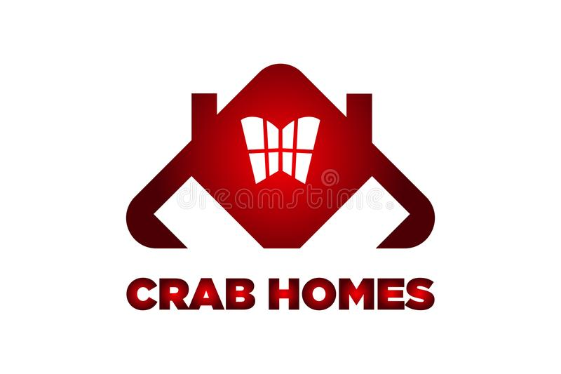 Van de de verschrikkings rood krab van KRABhuizen het embleemontwerp stock afbeelding