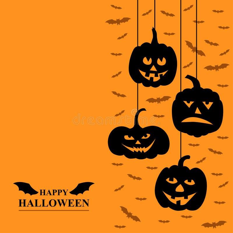 Van de verschrikkingspompoenen en vampieren van Halloween grappige groetkaart vector illustratie