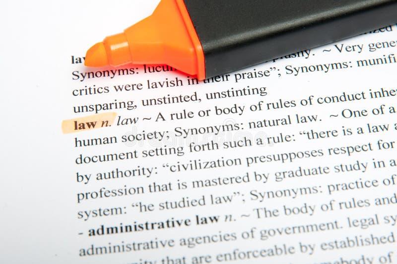 Van de vertaal wet woordenboek royalty-vrije stock afbeeldingen