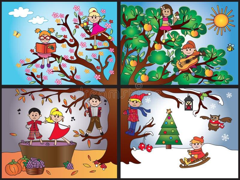 Van de vier seizoenen vector illustratie