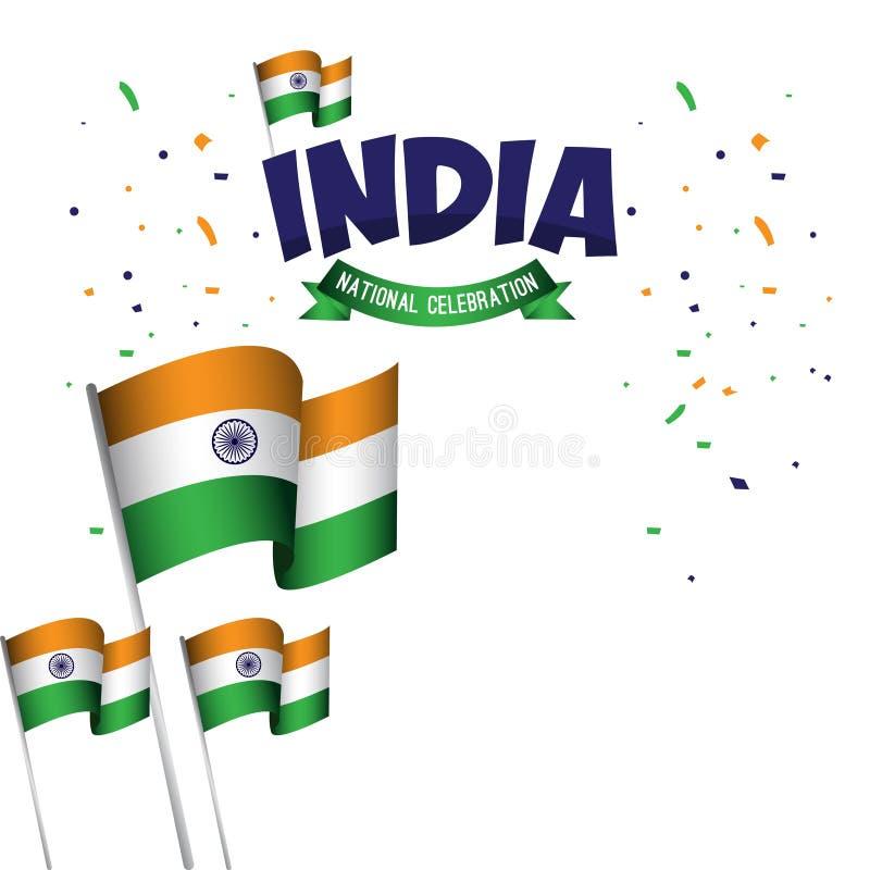 Van de de Vieringsaffiche van India de Nationale Illustratie van het het Malplaatjeontwerp Vector royalty-vrije illustratie