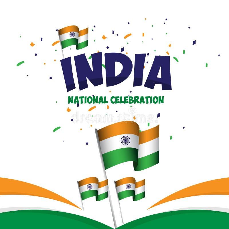 Van de de Vieringsaffiche van India de Nationale Illustratie van het het Malplaatjeontwerp Vector vector illustratie