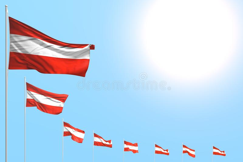 Van de de vieringsvlag van Nice 3d illustratie - velen de geplaatste diagonaal van Oostenrijk vlaggen op blauwe hemel met ruimte  royalty-vrije illustratie