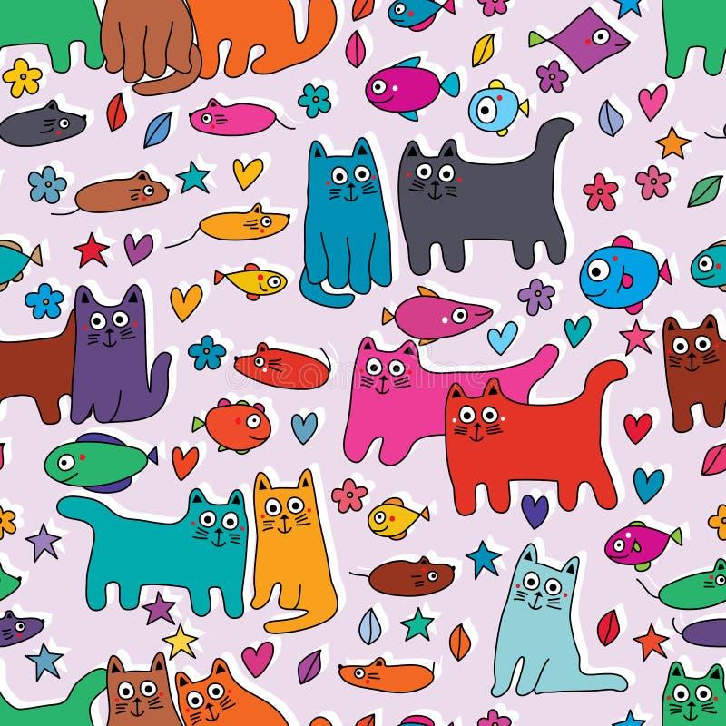 Van de de vissenbloem van de kattenmuis van de het bladliefde van de de ster het kleurrijke groep naadloze patroon royalty-vrije illustratie