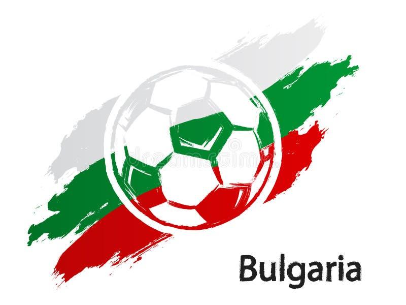 Van de de vlag grunge stijl van Bulgarije van het voetbalpictogram de vectordieillustratie op wit wordt geïsoleerd vector illustratie