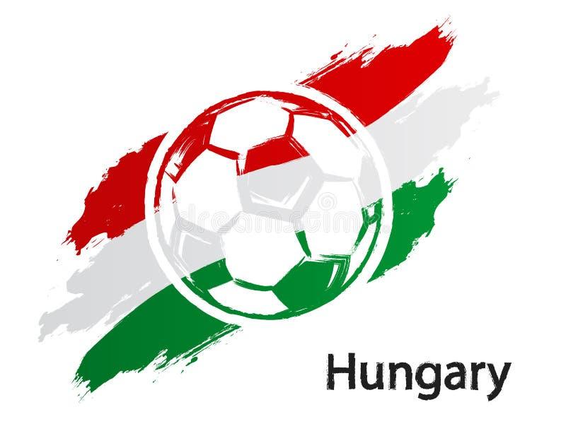 Van de de vlag grunge stijl van Hongarije van het voetbalpictogram de vectordieillustratie op wit wordt geïsoleerd stock illustratie