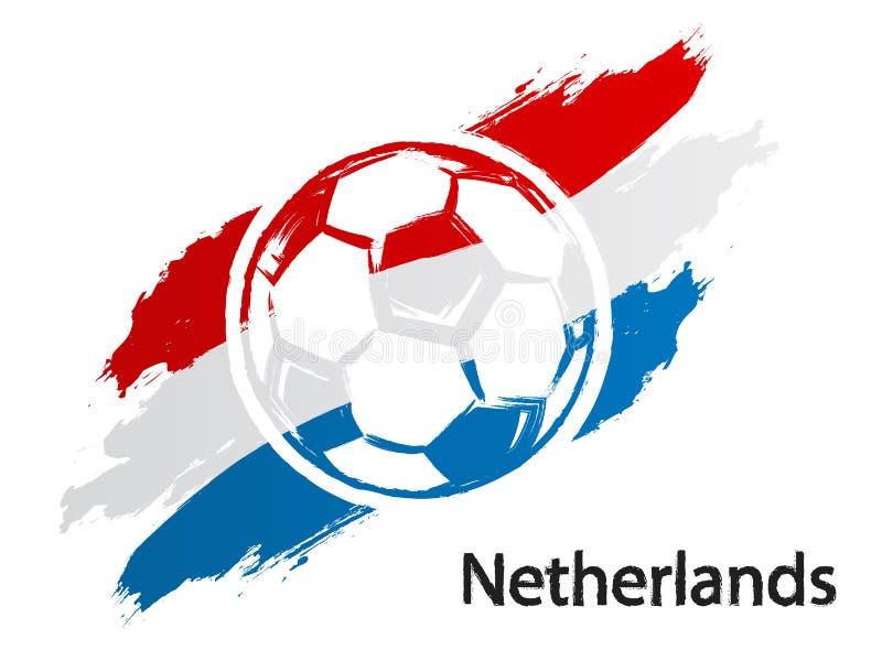 Van de de vlag grunge stijl van Nederland van het voetbalpictogram de vectordieillustratie op wit wordt geïsoleerd stock illustratie