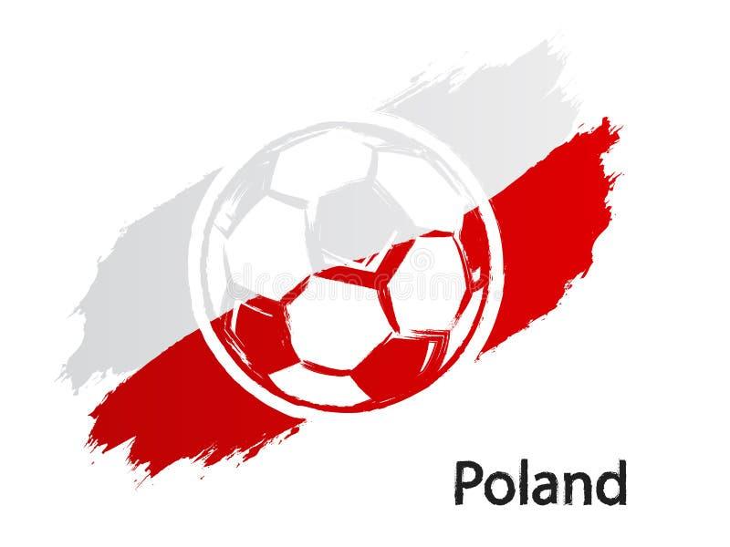 Van de de vlag grunge stijl van Polen van het voetbalpictogram de vectordieillustratie op wit wordt geïsoleerd vector illustratie