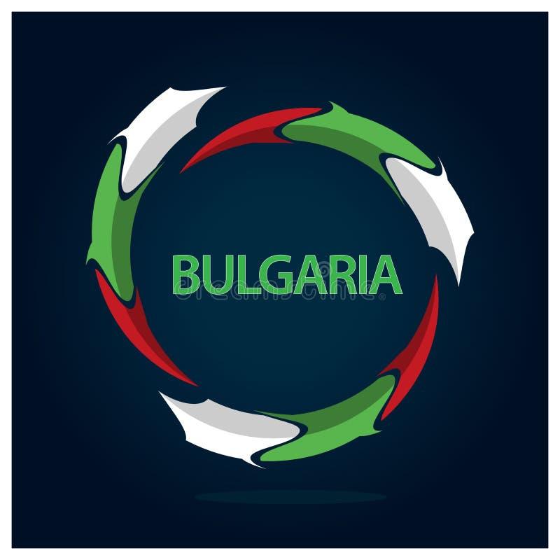 Van de de vlagcirkel van Bulgarije de voorraadvector Vectorillustratie op blauwe gradiëntachtergrond royalty-vrije illustratie