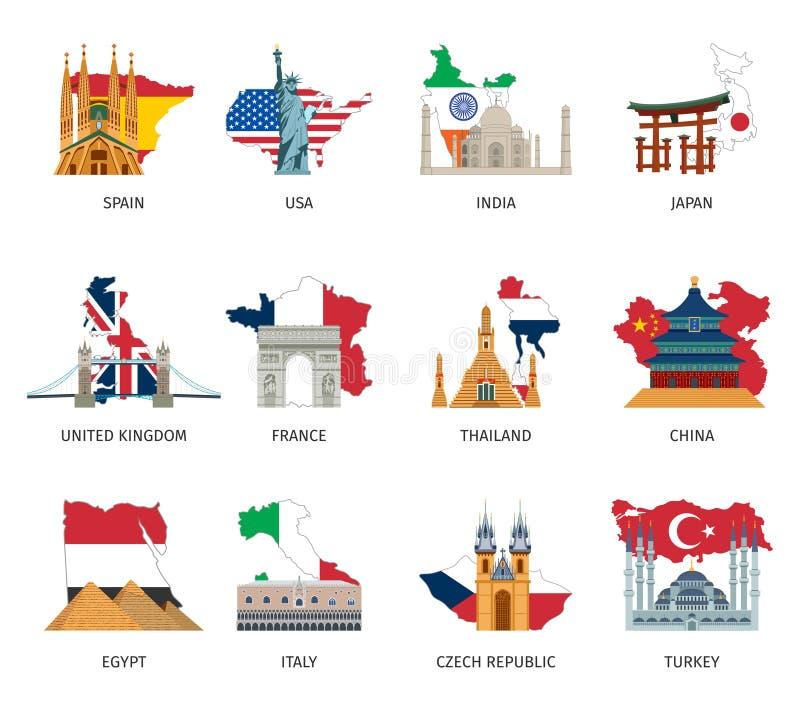 Van de Vlaggenoriëntatiepunten van landen de Vlakke Geplaatste Pictogrammen stock illustratie