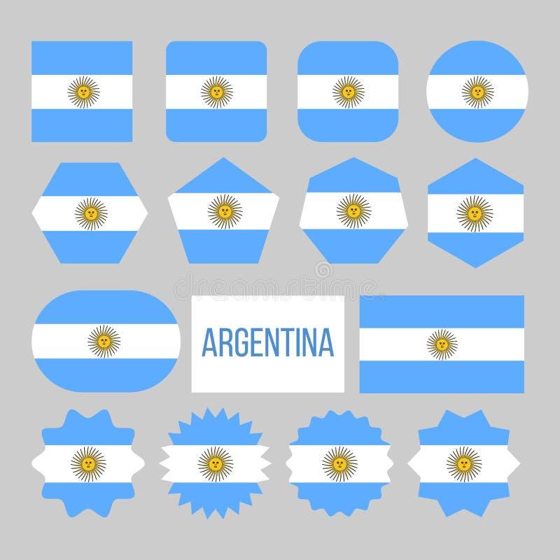 Van de de Vlaginzameling van Argentinië het Cijferpictogrammen Geplaatst Vector royalty-vrije illustratie