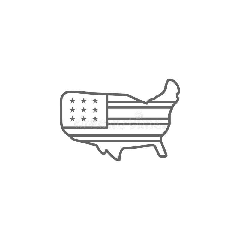 Van de de vlagkaart van de V.S. het overzichtspictogram De tekens en de symbolen kunnen voor Web, embleem, mobiele toepassing, UI vector illustratie