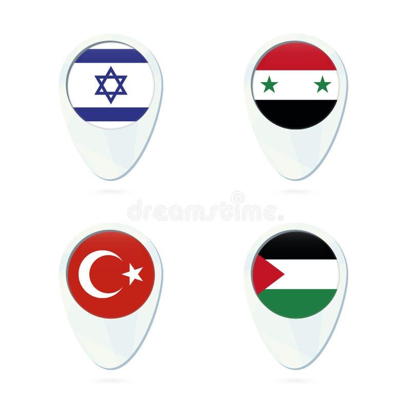 Van de de vlagplaats van Israël, Syrië, Turkije, Palestina het pictogram van de de kaartspeld royalty-vrije illustratie