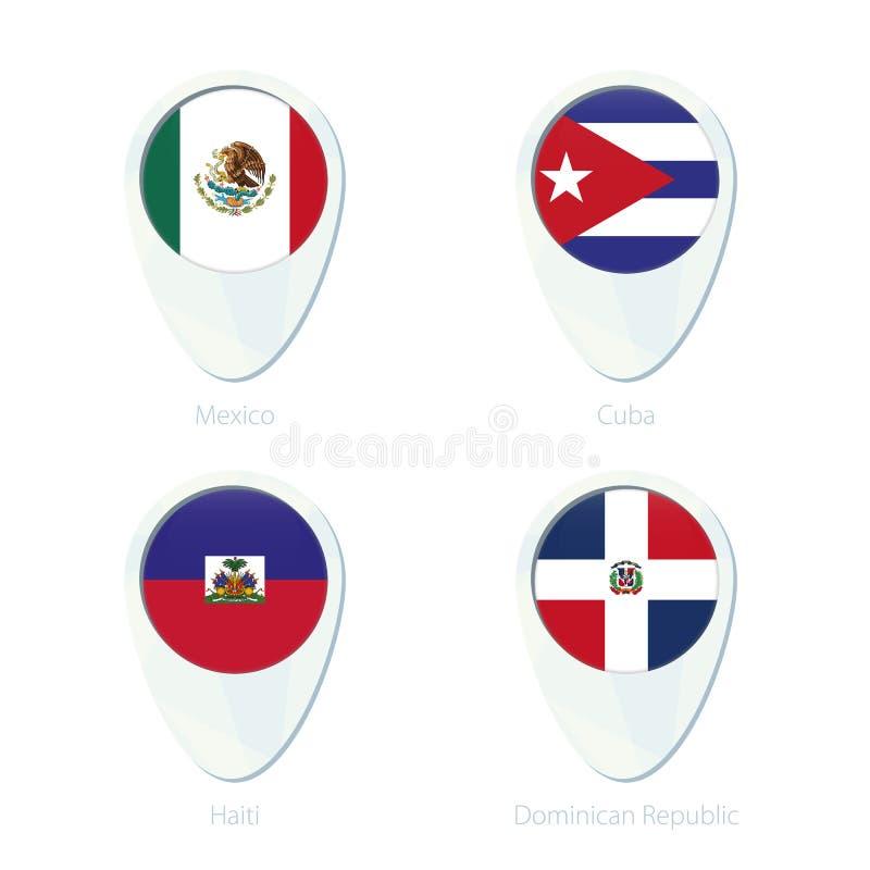 Van de de vlagplaats van Mexico, Cuba, Haïti, Dominicaanse Republiek het pictogram van de de kaartspeld royalty-vrije illustratie