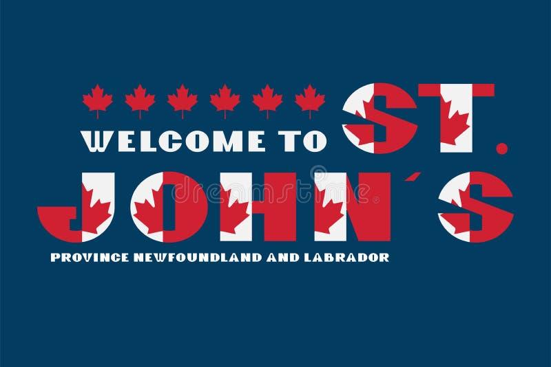 Van de de vlagstijl van Canada de motivatieaffiche met tekst Welkom Newfoundland en Labrador, St Johns Moderne typografie voor co royalty-vrije illustratie
