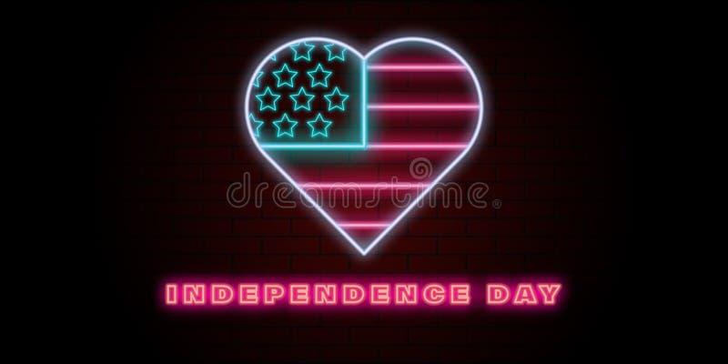 van de de vlagv.s. van de onafhankelijkheidsdag de achtergrond van het het neonhart vector illustratie