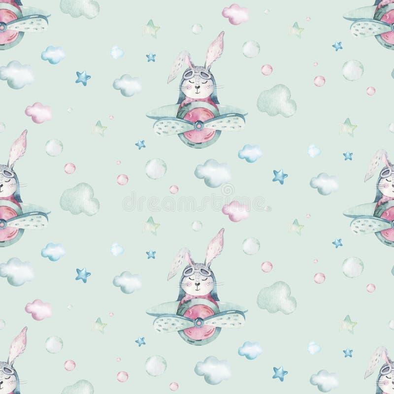 Van de vlieg leuke Pasen van de handtekening van de het konijntjeswaterverf proef het beeldverhaalkonijntjes met vliegtuig in het royalty-vrije illustratie