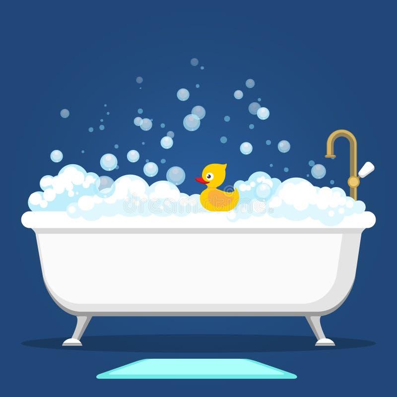 Van de Vntagebad en zeep schuimbellen royalty-vrije illustratie
