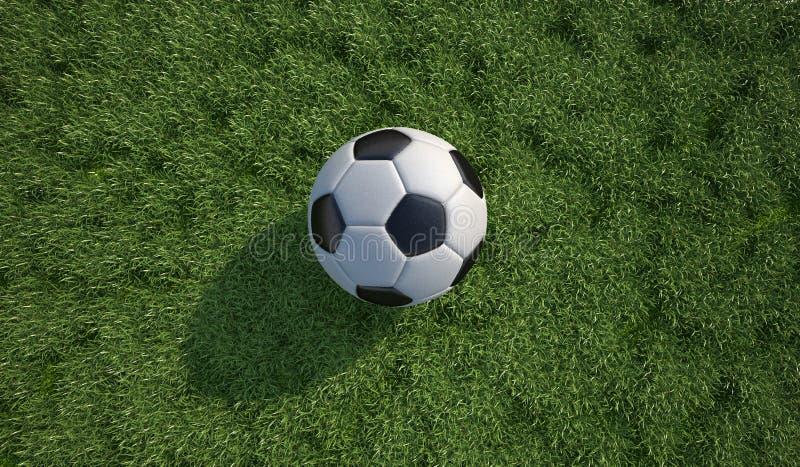 Van de voetbalbal/voetbal close-up op grasgazon. Hoogste mening. royalty-vrije illustratie