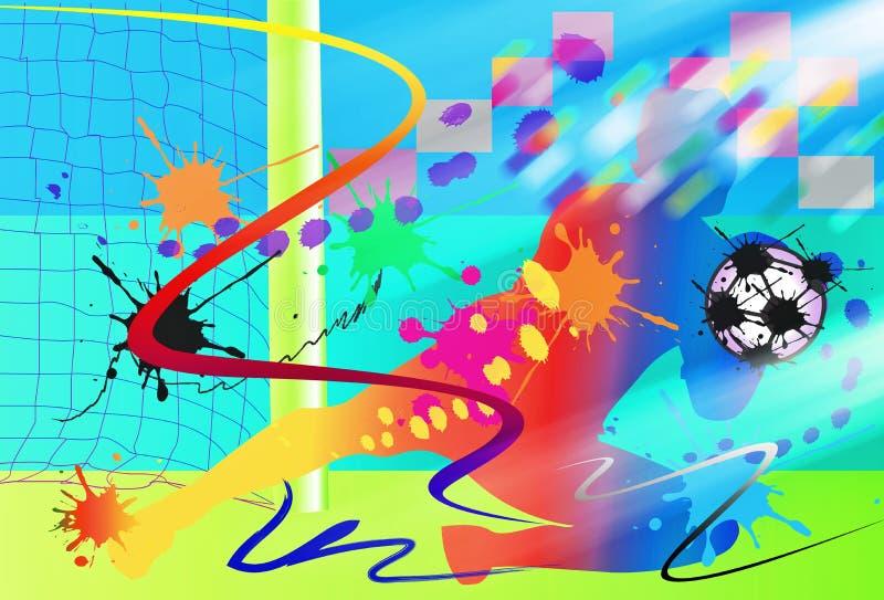 Van de de voetbalkunst van de doelbewaarder de actie en de borstel vector illustratie