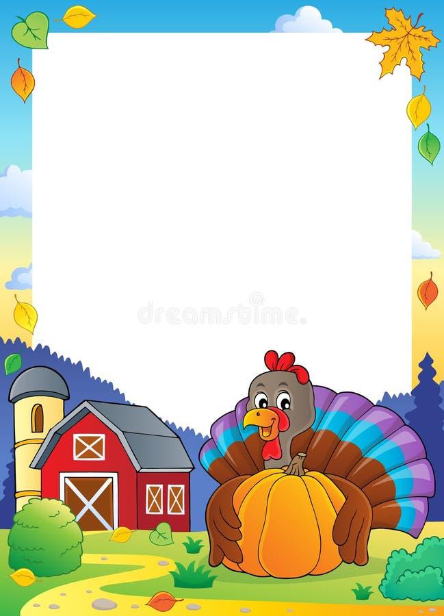 Van de de vogelholding van Turkije de pompoenkader 2 vector illustratie