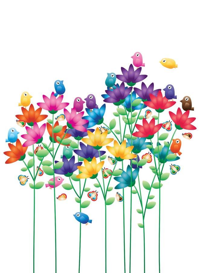 Van de de vogelvlinder van de bloemstam de kleurrijke kaart royalty-vrije illustratie