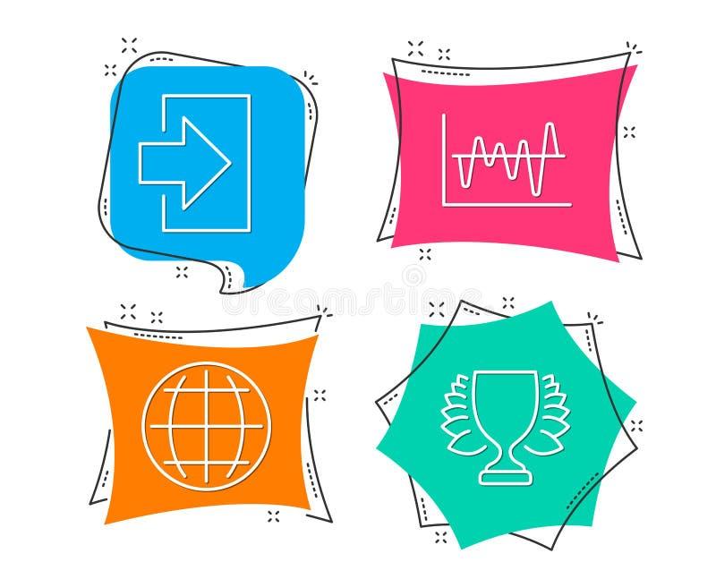 Van de voorraadanalyse, Bol en Login pictogrammen Winnaarteken Bedrijfshandel, Internet-wereld, Teken binnen stock illustratie