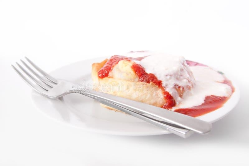 Van de vorkmanti van het gebakje borek de yoghurt van de de jusdienst royalty-vrije stock foto