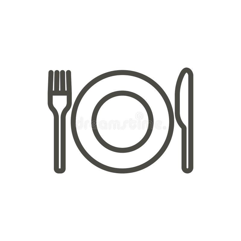 Van de vorkmes en plaat pictogramvector De lijn eet geïsoleerd symbool Het in vlakke ontwerp van het overzichts ui teken Thi vector illustratie