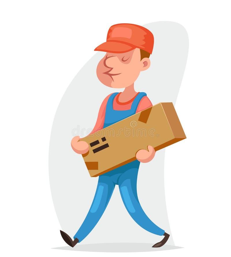 Van de de vrachtdoos van de bezorgerlading van de de leveringsverzending van het de laderkarakter van het het pictogrambeeldverha vector illustratie