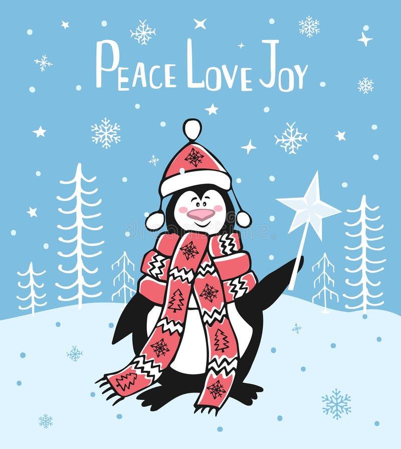 Van de de vreugdewinter van de vredesliefde van de Kerstmisgroet de kaartachtergrond met leuke beeldverhaalpinguïn royalty-vrije illustratie