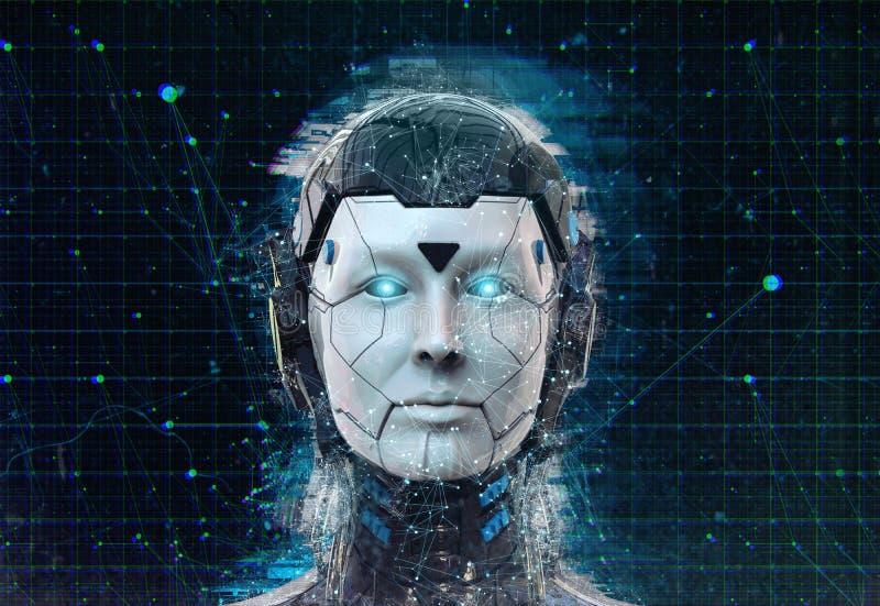 Van de vrouwencyborg van sc.i-FI van de technologierobot de androïde achtergrond - Humanoid-behang-3D de Kunstmatige intelligenti royalty-vrije illustratie