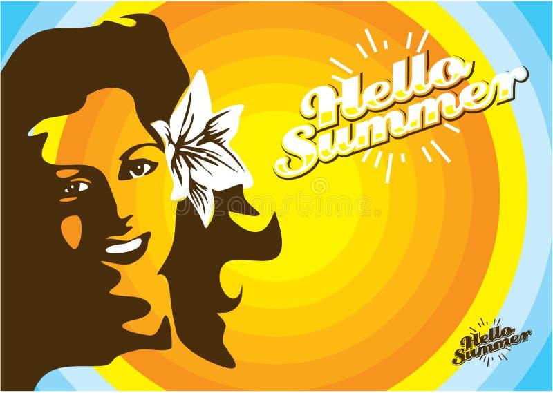 Van de de vrouwenvakantie van de de zomerpret retro affiche, de zomerachtergrond, Hello-de Zomer stock illustratie