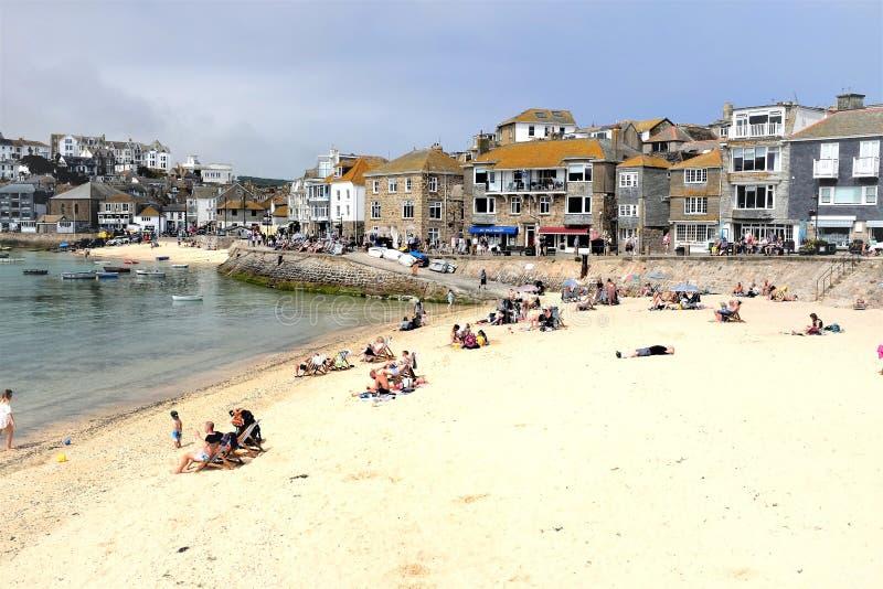 Van de Warfweg en haven stranden, St Ives, Cornwall, het UK royalty-vrije stock fotografie