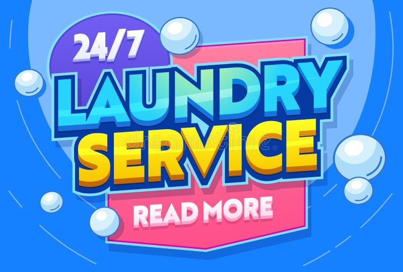 Van de de Waskleding van de wasserijdienst de Banner van de de Textieltypografie Nutszaal voor Waskleren Launderette Commerci?le  royalty-vrije illustratie