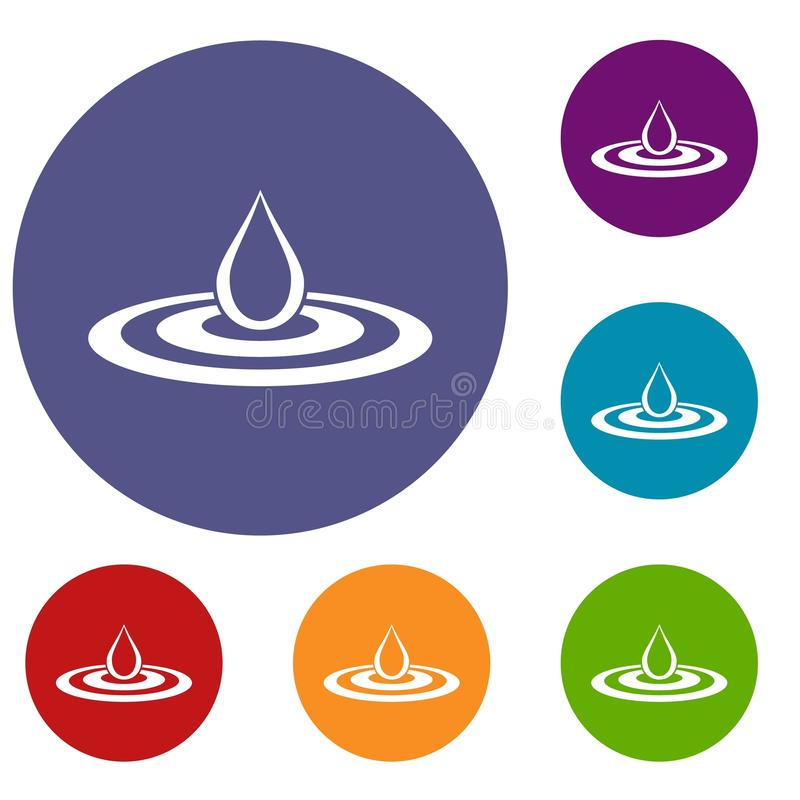 Van de waterdaling en morserij geplaatste pictogrammen vector illustratie