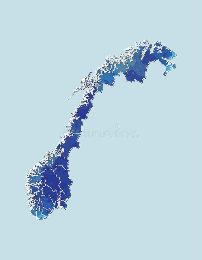 Van de de waterverfkaart van Noorwegen de vectorillustratie van blauwe kleur met grenslijnen van verschillende gebieden of provin royalty-vrije illustratie