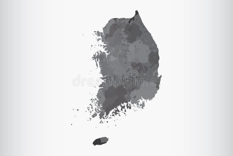 Van de de waterverfkaart van Zuid-Korea de vectorillustratie van zwarte kleur op lichte achtergrond die verfborstel in document p stock illustratie