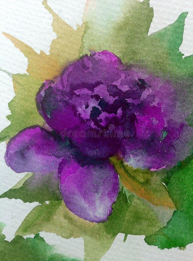 Van de waterverfkunst de abstracte bloem als achtergrond nam violette roze geweven natte was vage kleurstof toe stock illustratie