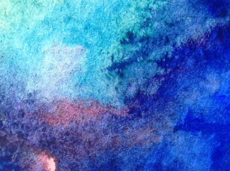 Van de waterverfkunst abstracte kleurrijke geweven natte was vage oceaan als achtergrond vector illustratie