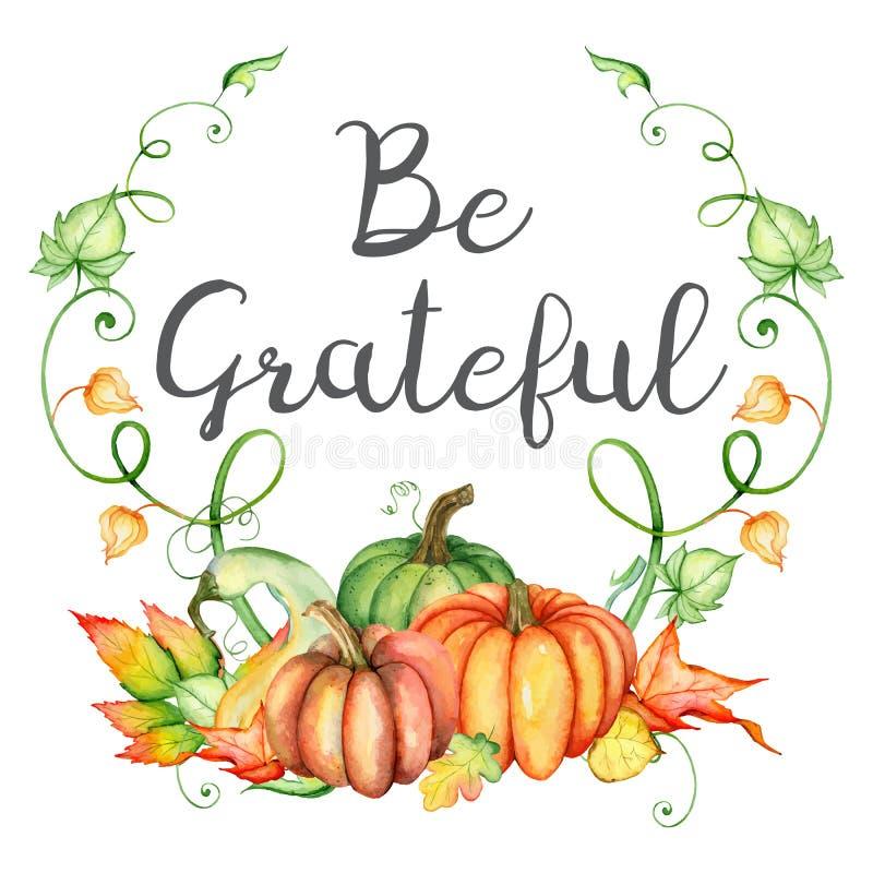 Van de waterverfpompoen en herfst bladerenkaart Oogstsamenstelling Ben Dankbaar citaat Hand getrokken vectorillustratie royalty-vrije illustratie