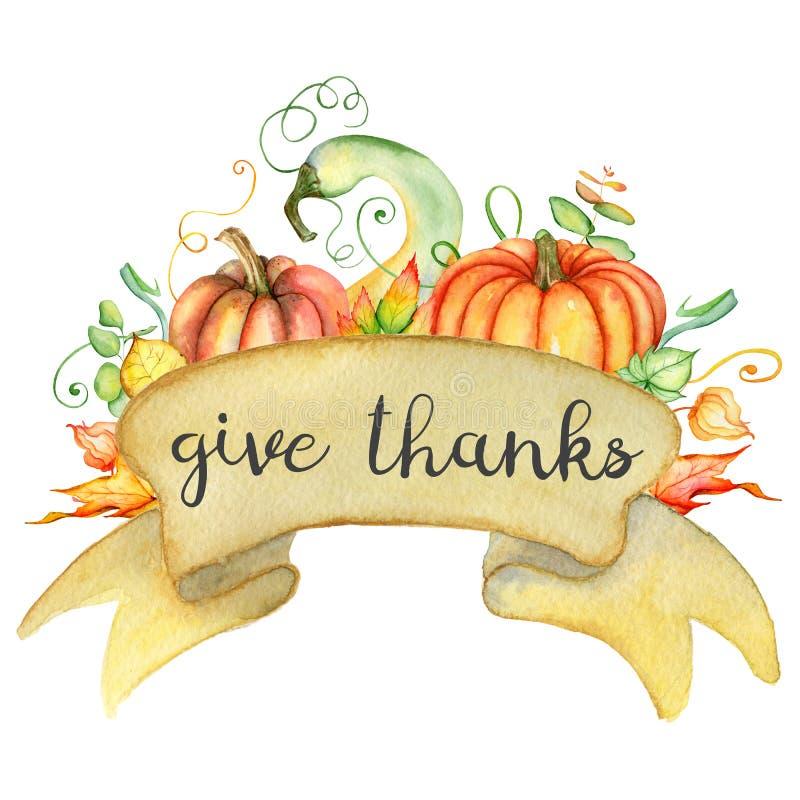 Van de waterverfpompoen en herfst bladerenkaart Oogstsamenstelling Gelukkig Thanksgiving day Hand getrokken illustratie royalty-vrije illustratie